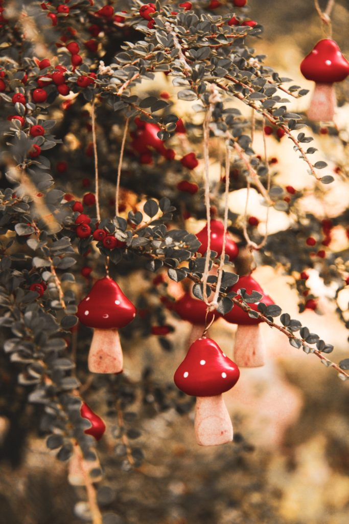 décoration sapin originale nature slow living hygge champignon en bois diy
