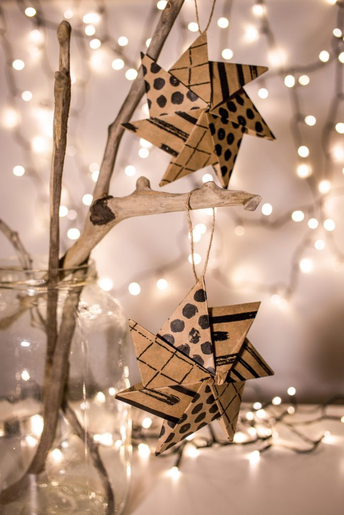 étoile carton origami guirlande lumineuse déco noël