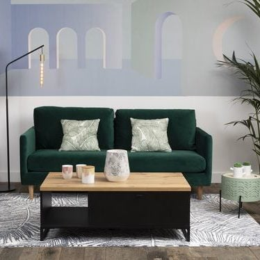 canapé vert sapin intérieur tendance bois table basse rangement décoration - clem around the corner