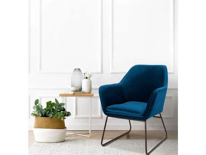 conforama automne hiver 2019 2020 fauteuil velours design pas cher bleu foncé