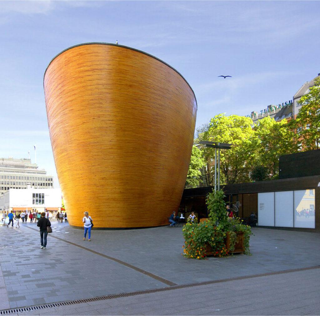 chapelle de kamppi kappeli du silence finlande en bois ronde