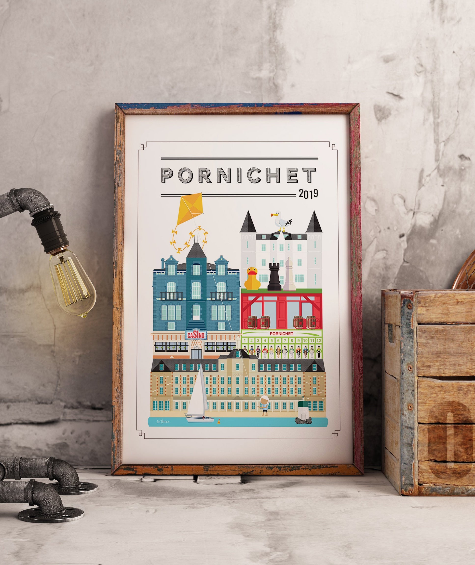 Illustrateurs Etsy Poster Art Frame Lu Guerin Pornichet architecture design vintage moderne