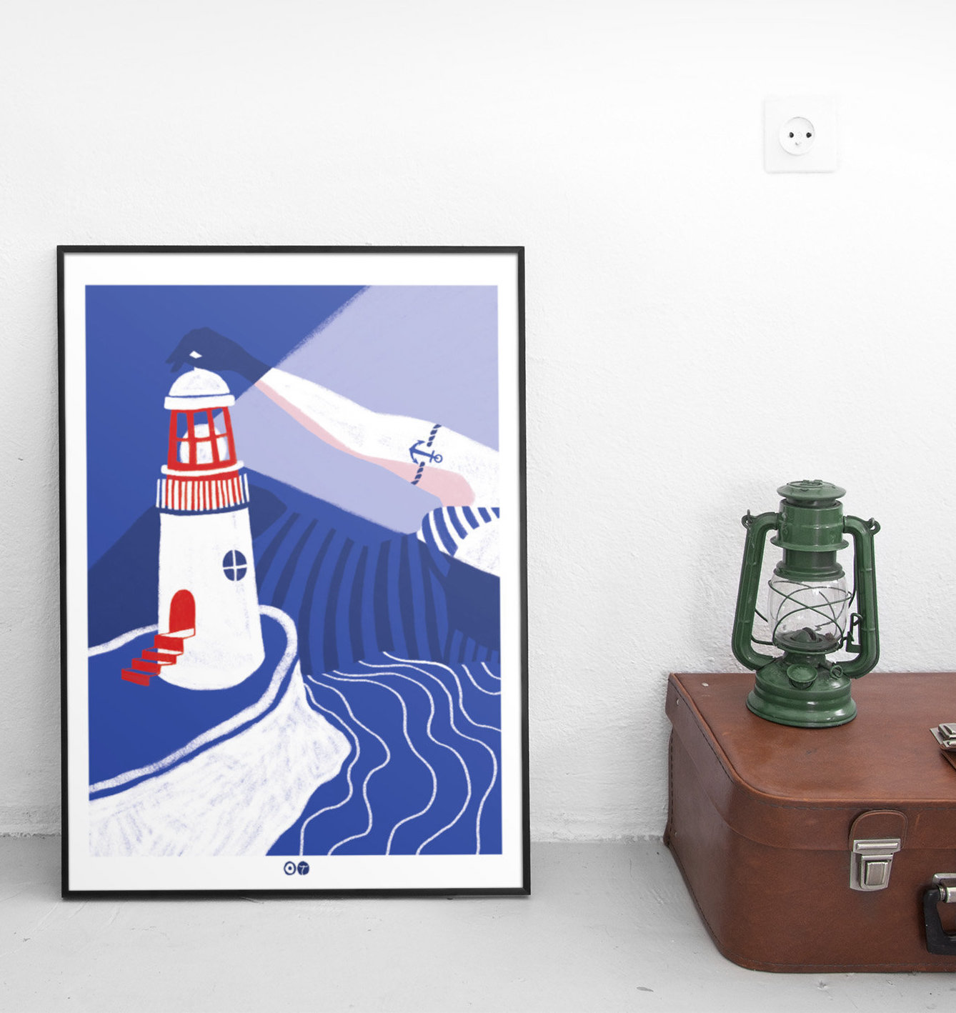 Orana Trikovna affiche dessin mer phare Bretagne abstrait graphique
