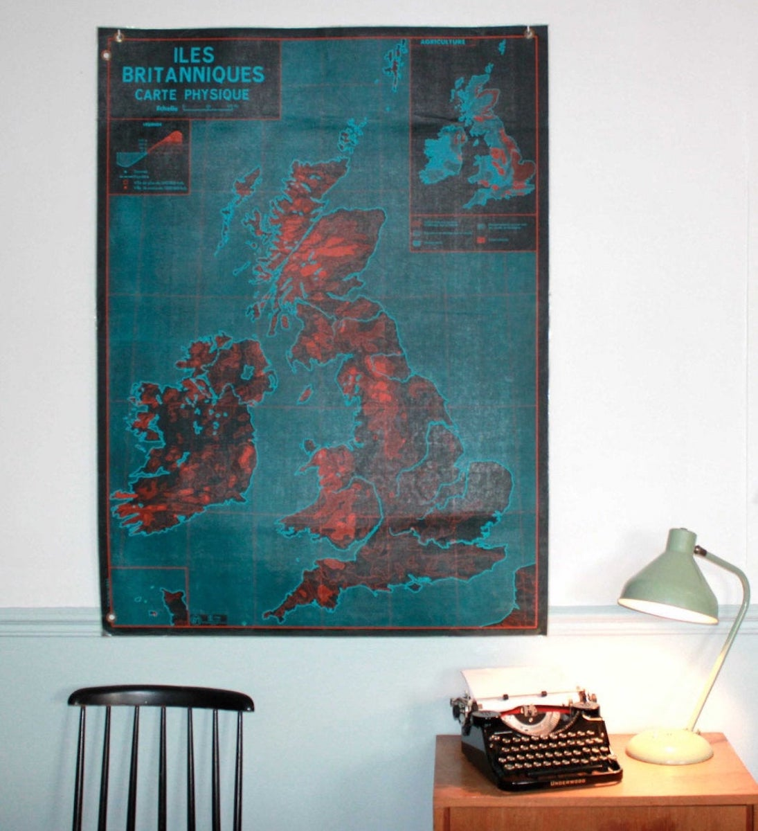 Affiche Etsy Retro Market vintage Angleterre cours de géographie années 60