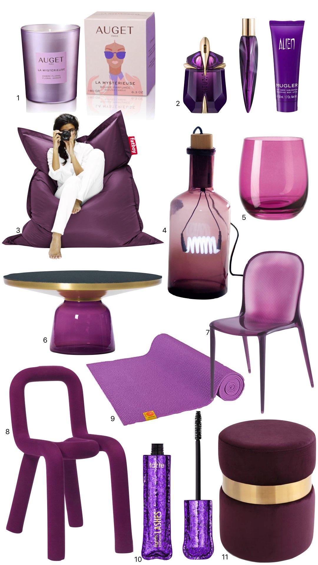 décoration intérieur idée cadeau fauteuil pouf design couleur violet prune aubergine