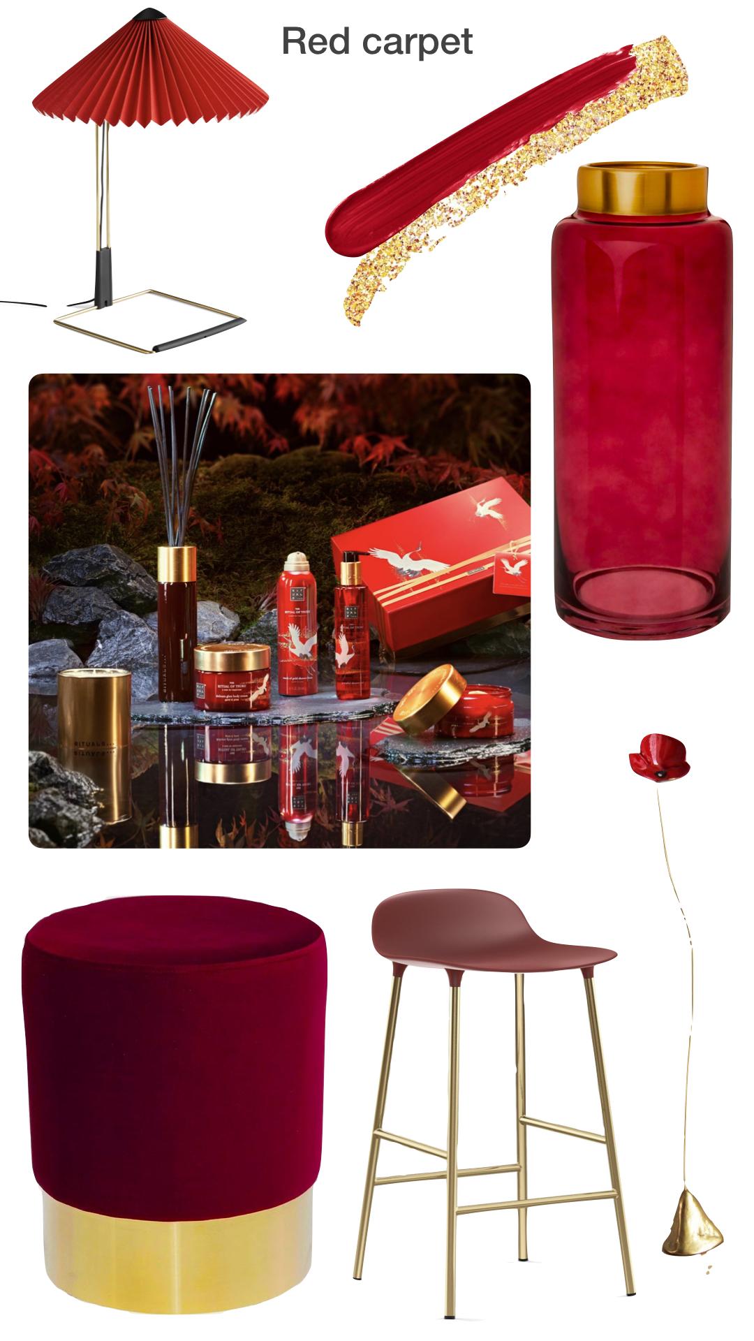 idées de cadeaux pour Noël rouge vase cosmétique femme or massage