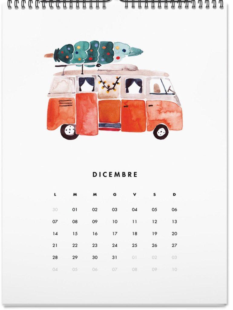planning blanc autocar rouge orange aquarelle