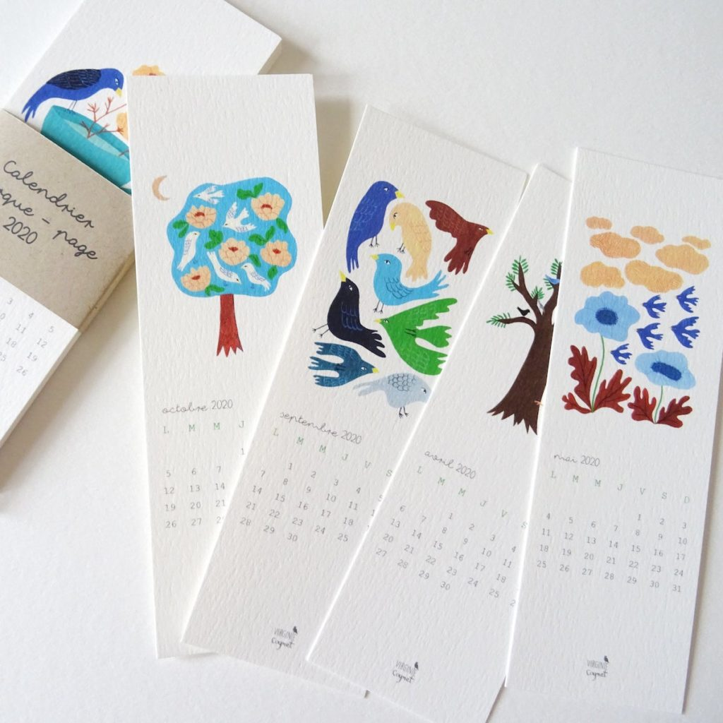 calendrier original 2020 marque page papier carton blanc crème dessin nature animaux