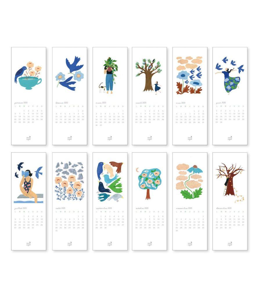 calendrier marque page papier cartonné blanc