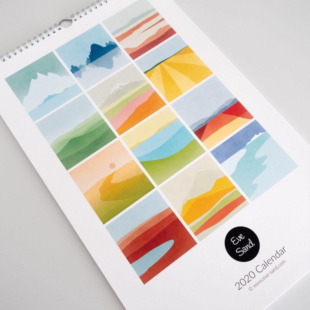 calendrier illustration abstraite montagne colline nuance pastel rouge orange vert bleu