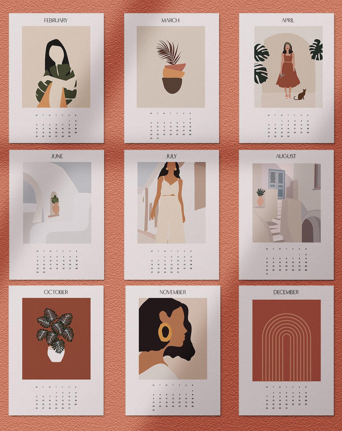 calendrier 2020 original style méditerranéen terracotta blanc épurée blog déco clematc