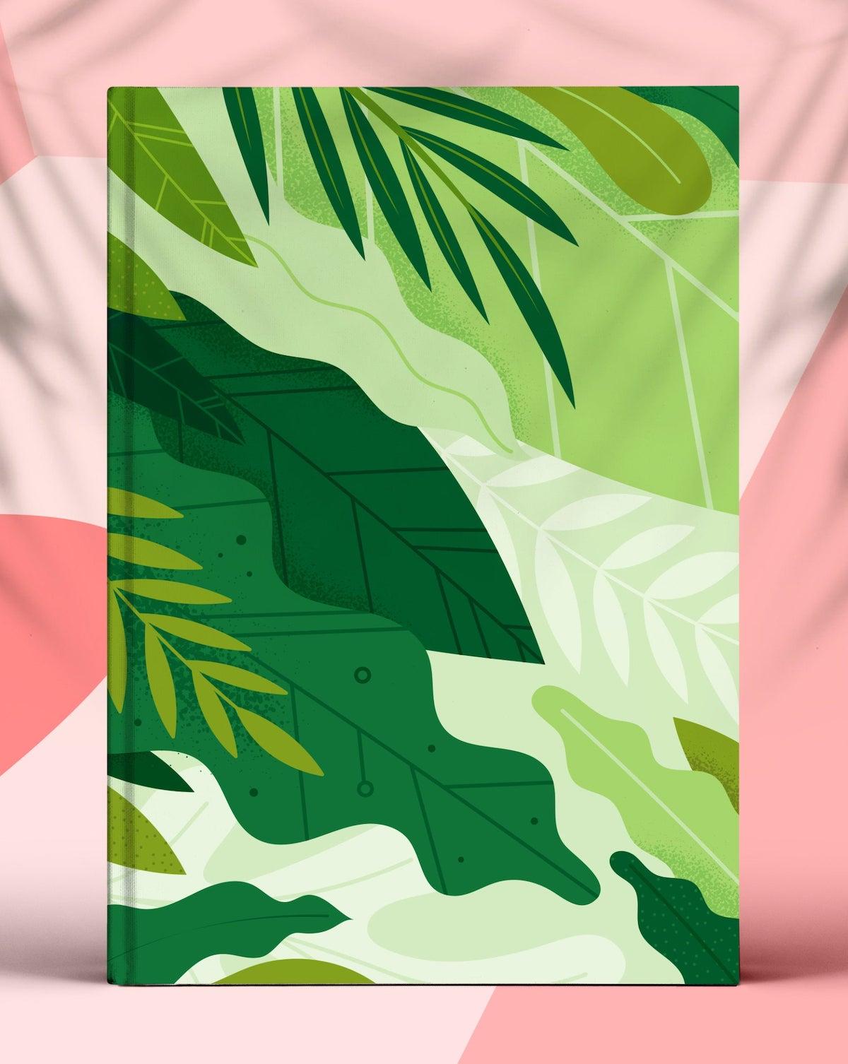 agenda moderne 2020 plante verte tropicale fond rose