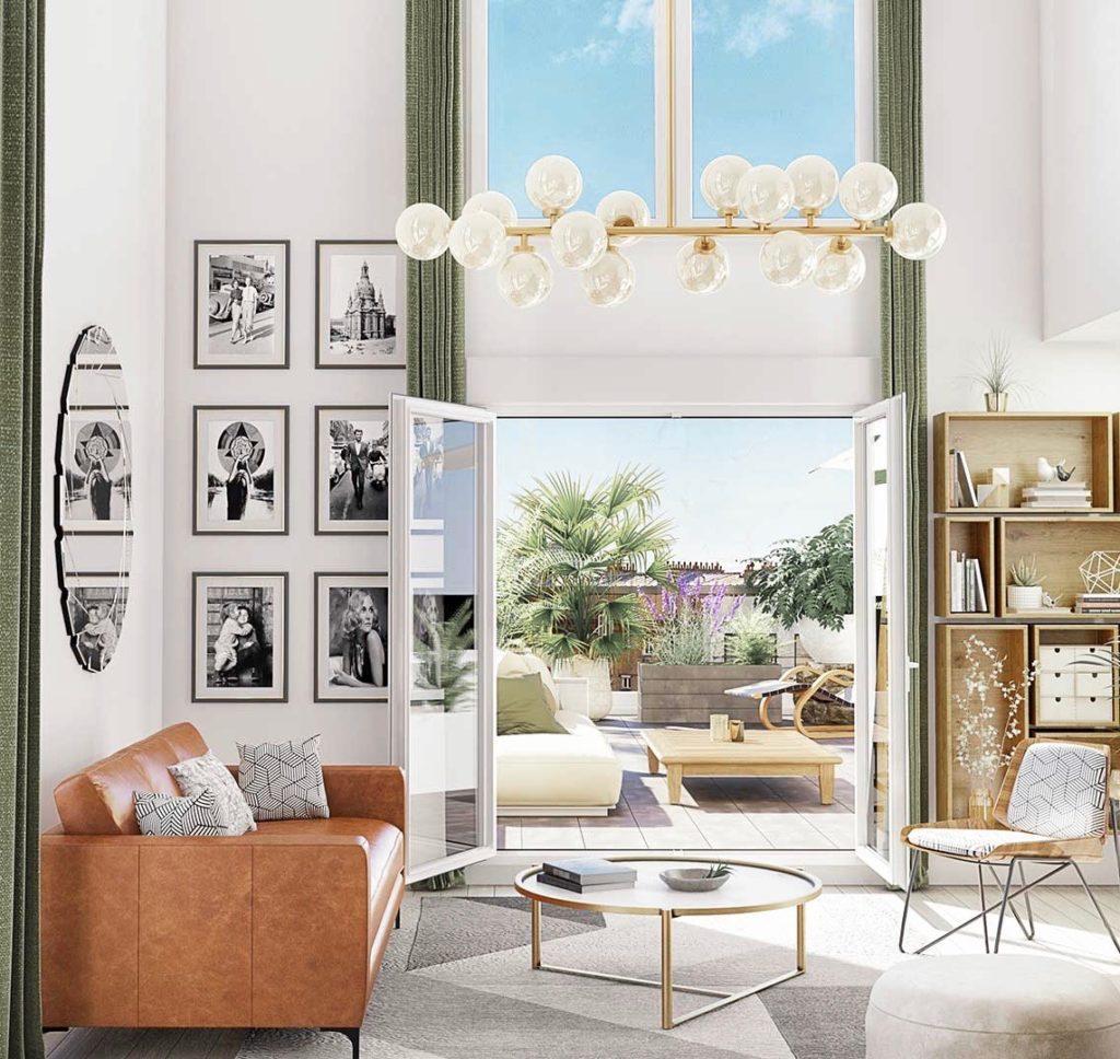 loft duplex moderne canapé cuir vintage table basse ronde laiton bibliothèque caisse bois cube