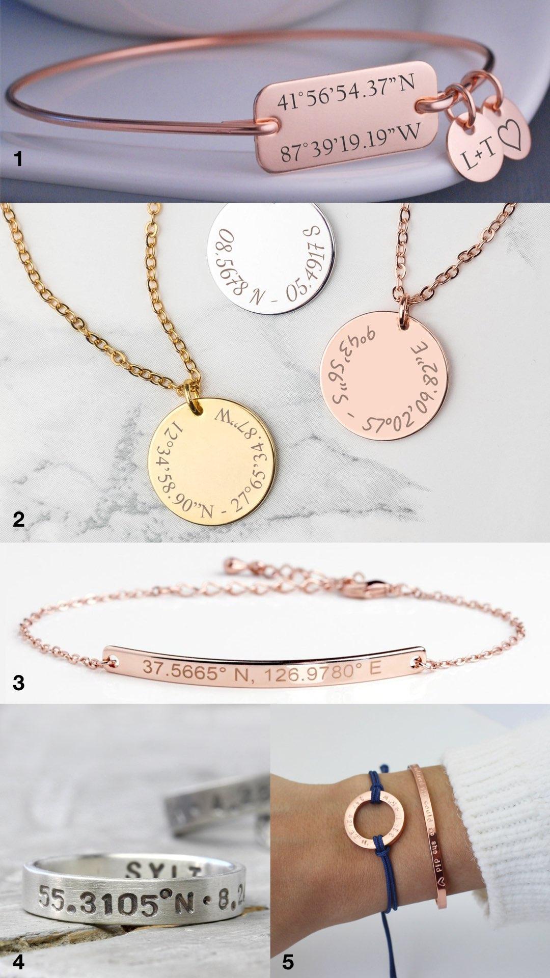 bijou bracelet coordonnées gps souvenir cadeau mariage amour or rose