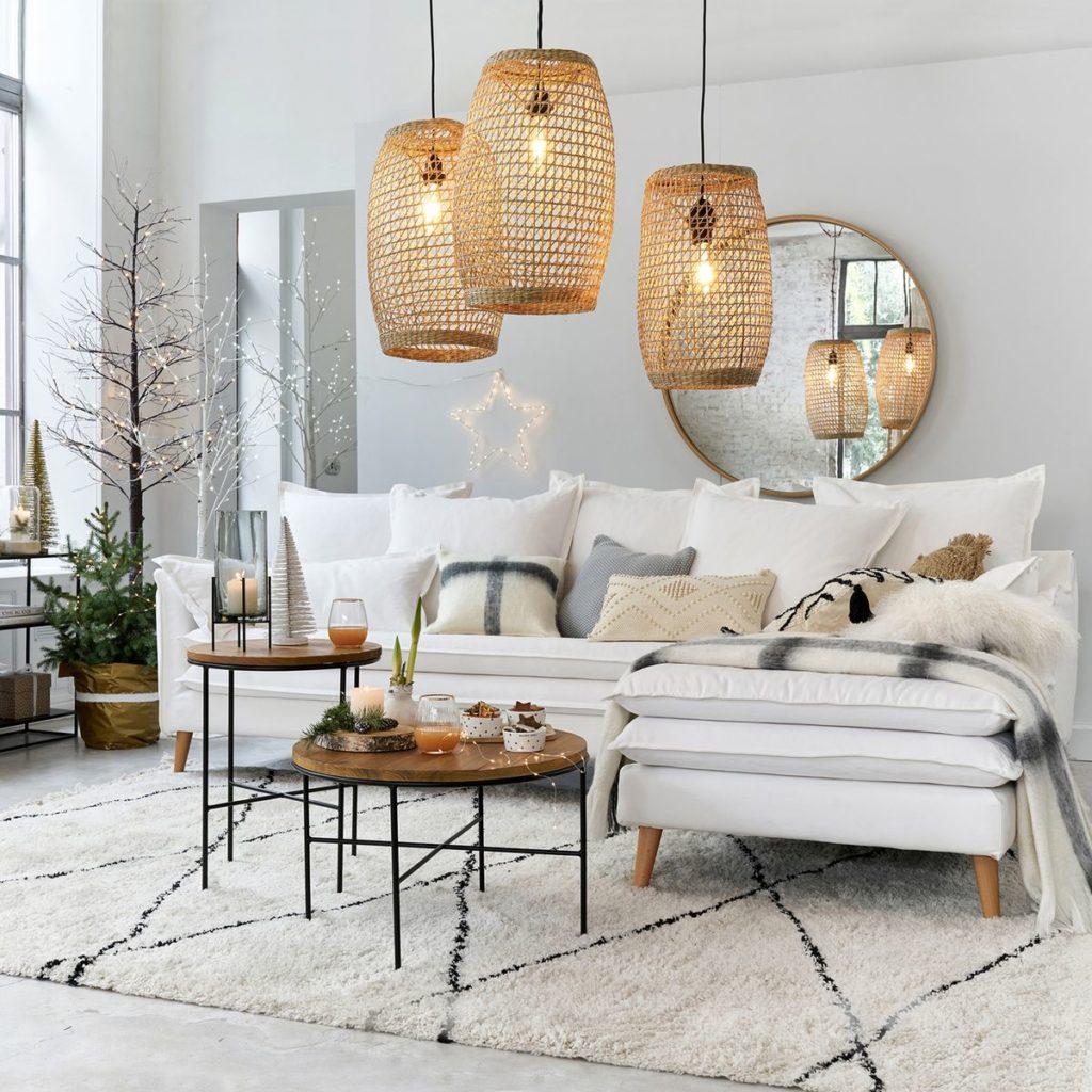 salon Noël blanc lanterne design suspension bambou rotin hygge hiver - blog décoration - clem around the corner