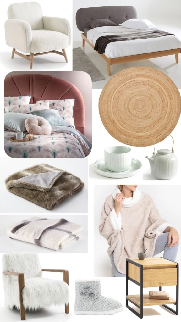 chambre cosy hygge plaid fauteuil fausse fourrure style scandinave pijama poncho polaire