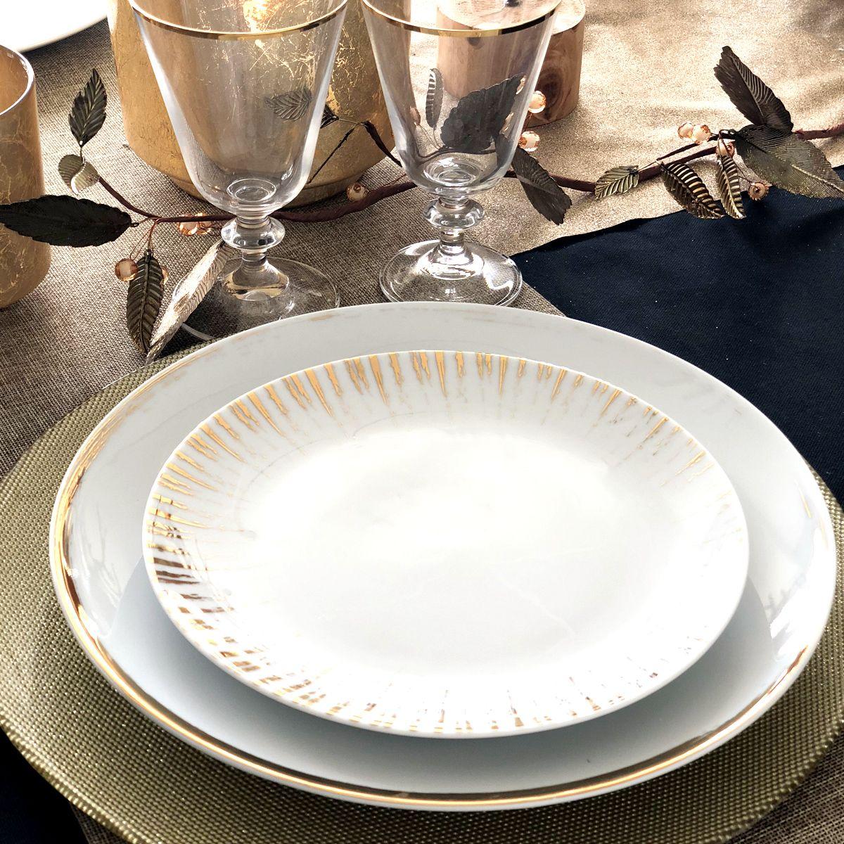 couvert porcelaine blanche set de table rond doré
