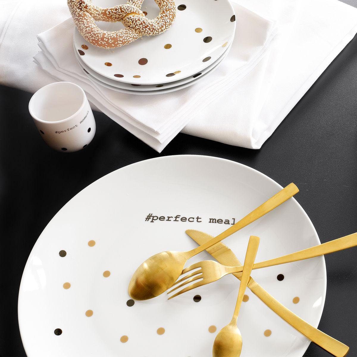 vaisselle blanche fantaisie pois couvert dorées déco intérieure
