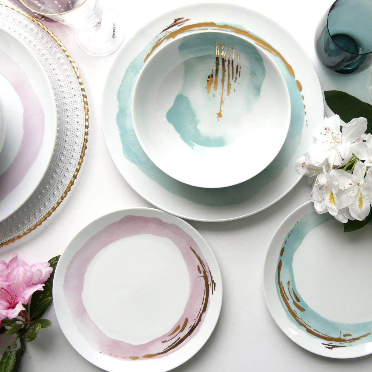 assiette porcelaine tache peinture rose bleu pastel déco poétique