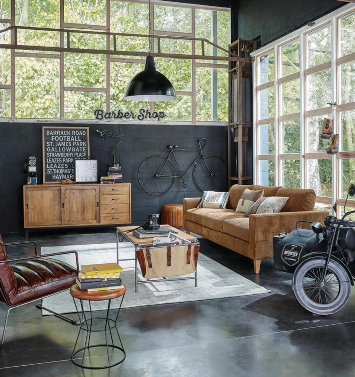 salon industriel tendance fauteuil cuir bicyclette verrière - blog déco - clematc