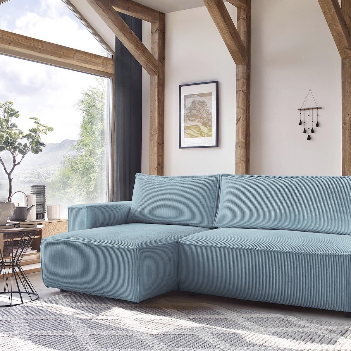 canapé d angle réversible bleu velours côtelé bobochic paris - blog déco - clemaroundthecorner