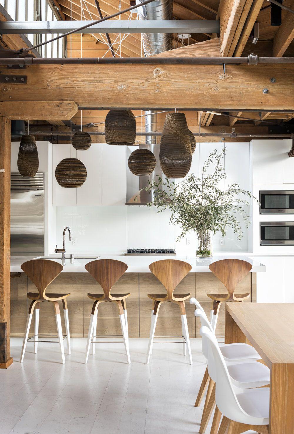 déco intérieure design graphique lumineux épurée blanc marron loft
