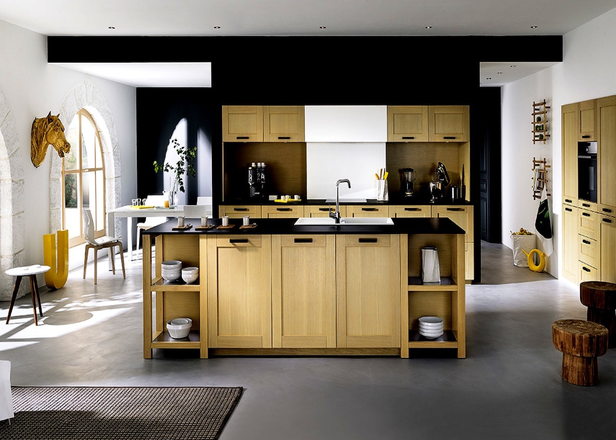 cuisine en bois ouverte tendance blanc marron noir blog déco