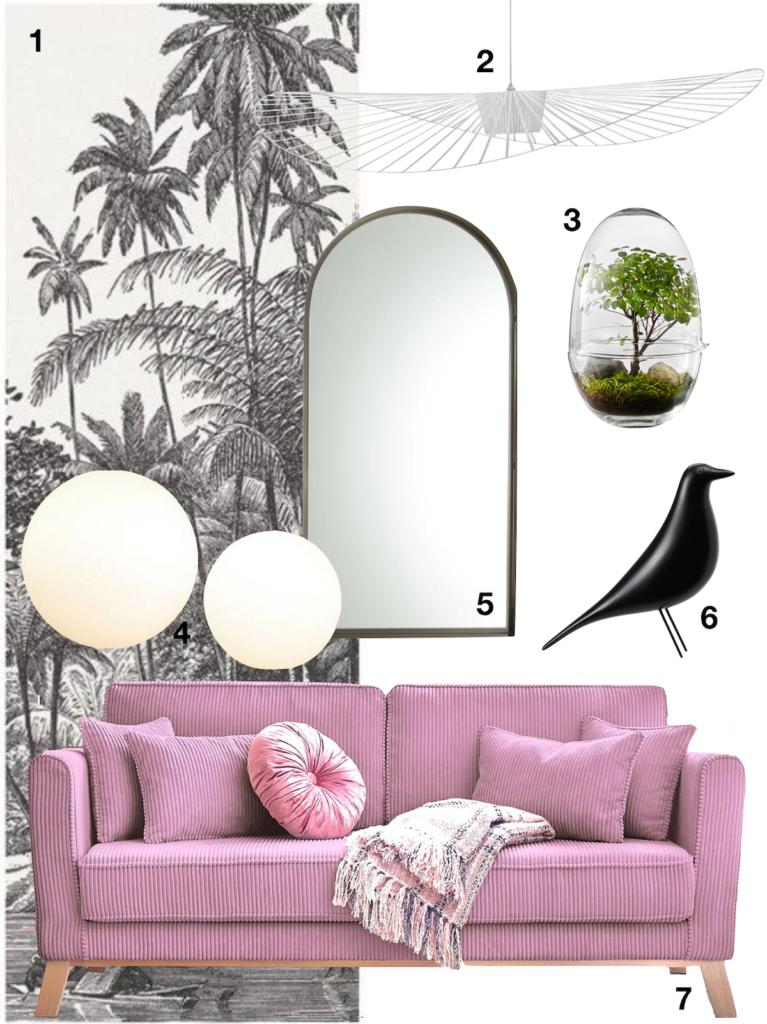 shopping liste canapé velours côtelé rose miroir oiseau eames vertigo - blog déco - clematc