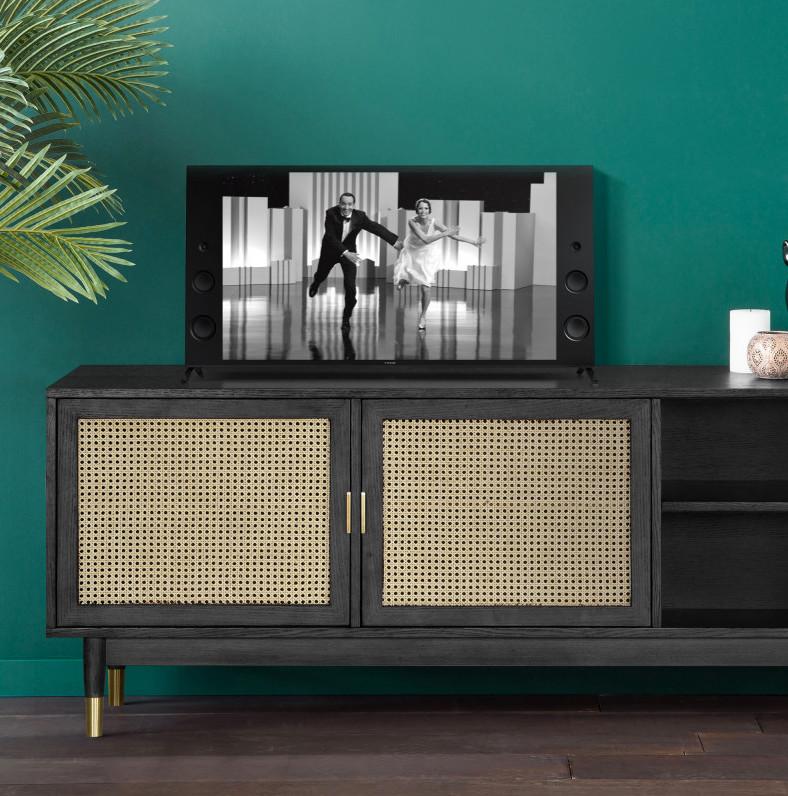 blog déco cannage meuble télé noir mur vert style art déco