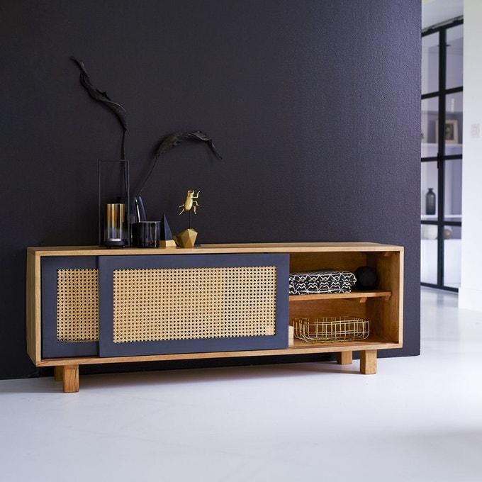 blog déco meuble tv cannage bois bleu nuit