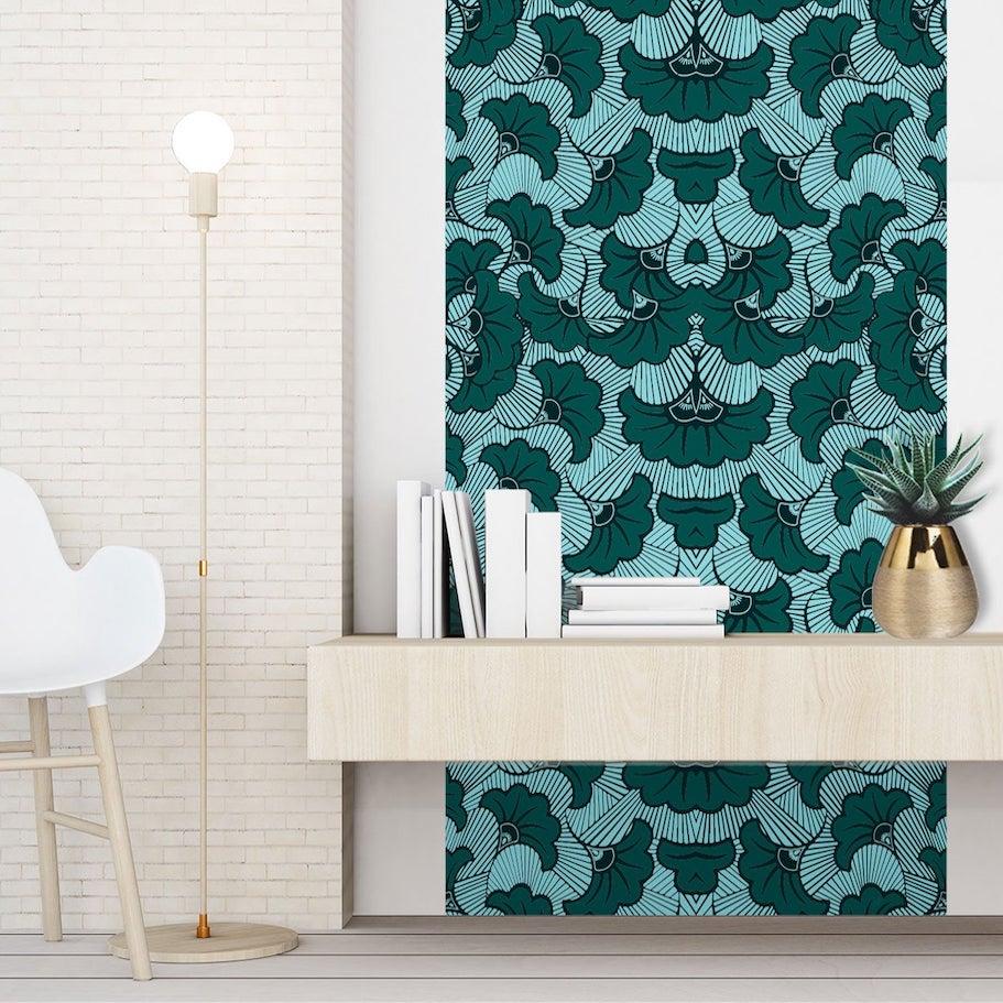 déco salon coin détente univers scandinave mur brique blanche meuble bois clair papier peint tendance wax vert végétale