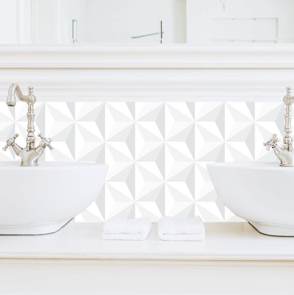 papier peint adhésif origami blanc effet 3D déco salle de bain