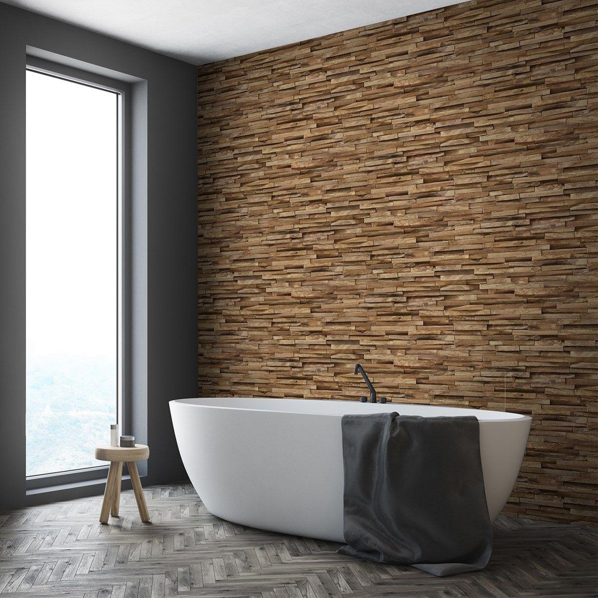 salle de bain bois esprit nature papier peint adhésif lamelle de bois parquet gris