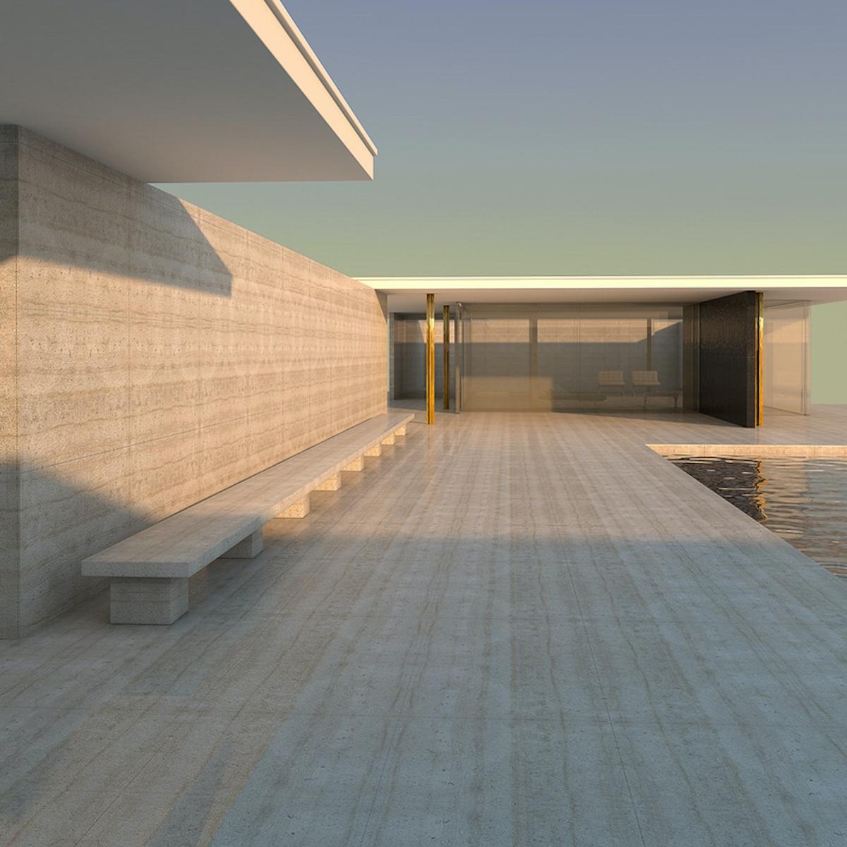 Barcelona pavillon allemand architecture Ludwig Mies van der Rohe - blog déco - clemaroundthecorner