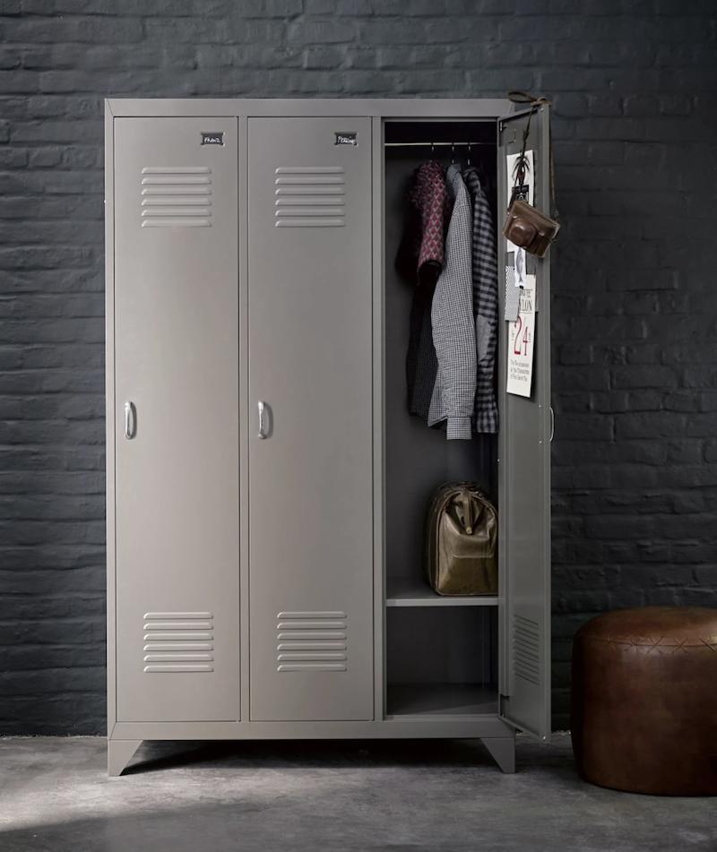 armoire métallique déco chambre ado loft industriel style mur brique grise