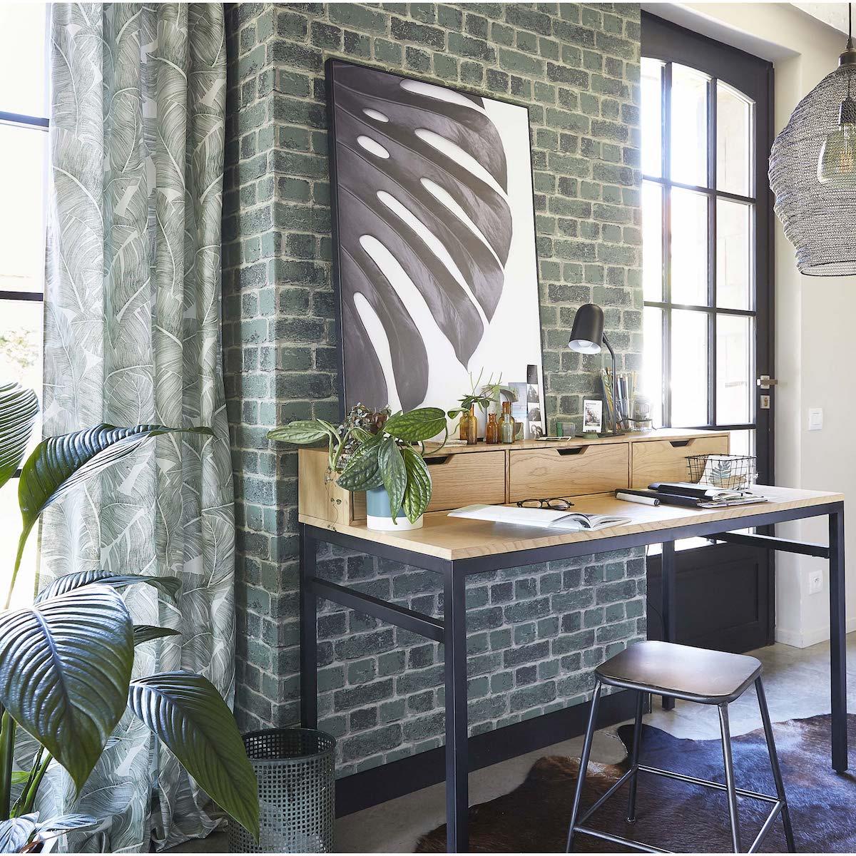 bureau urban jungle gris vert table bois finition métallique noir tapis peau de vache clematc
