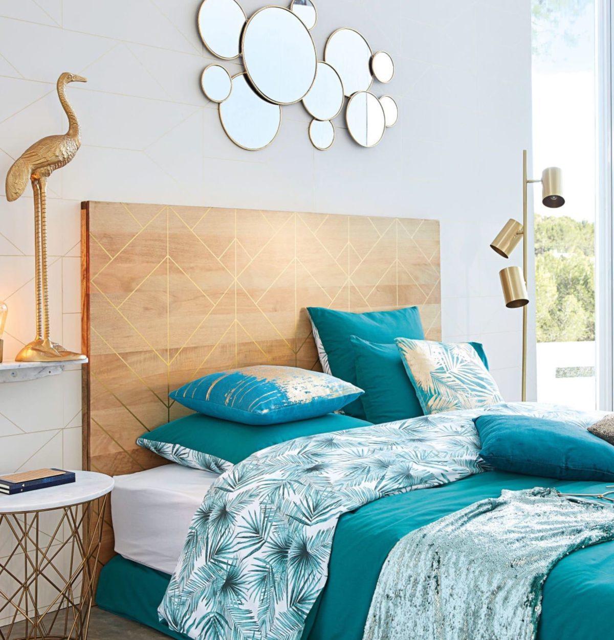 cadre bois naturelle finition géométrique doré déco chambre exotique turquoise