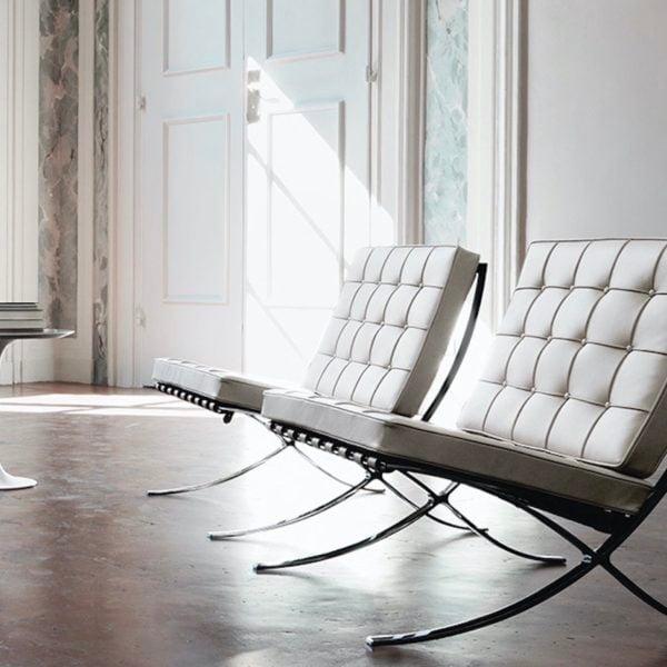 chaise barcelone cuir blanc icone design salon tendance - blog déco - clemaroundthecorner