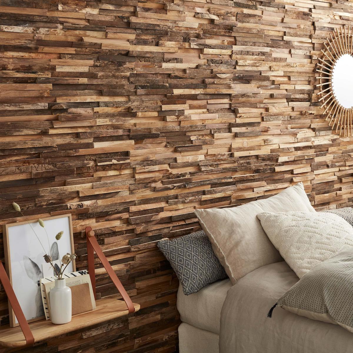 chambre parentale parements de briques couleur miel étagère lance en cuir