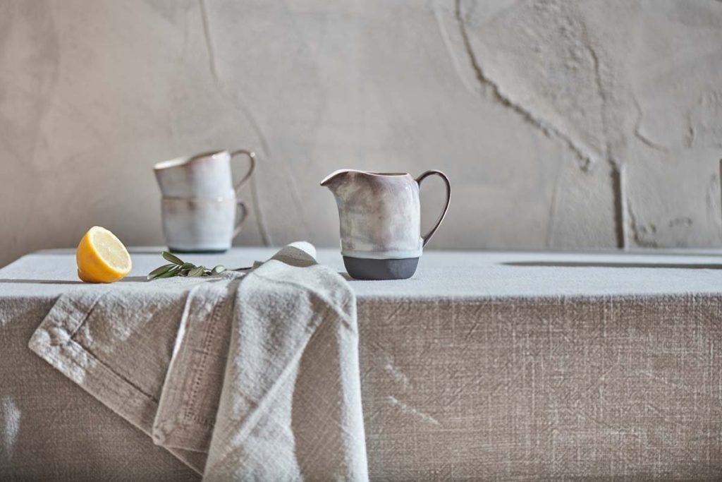 décoration maison de campagne carafe terre nappe jute lin naturel slow life