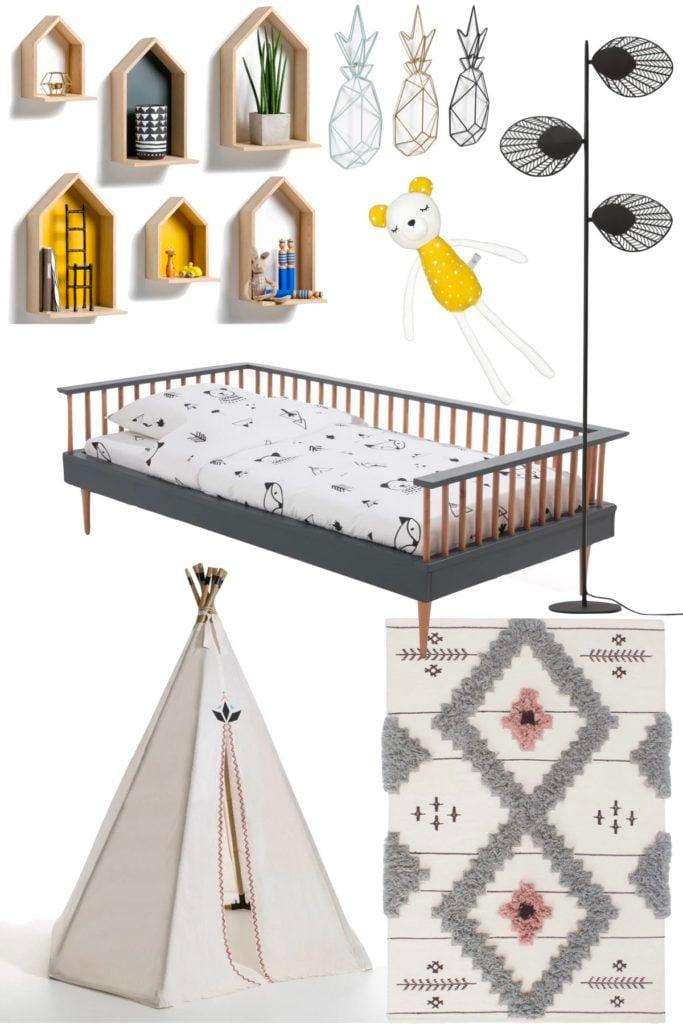 idée déco chambre petit garçon fille mixte tipi ananas gris design - blog décoration intérieure - clem around the corner