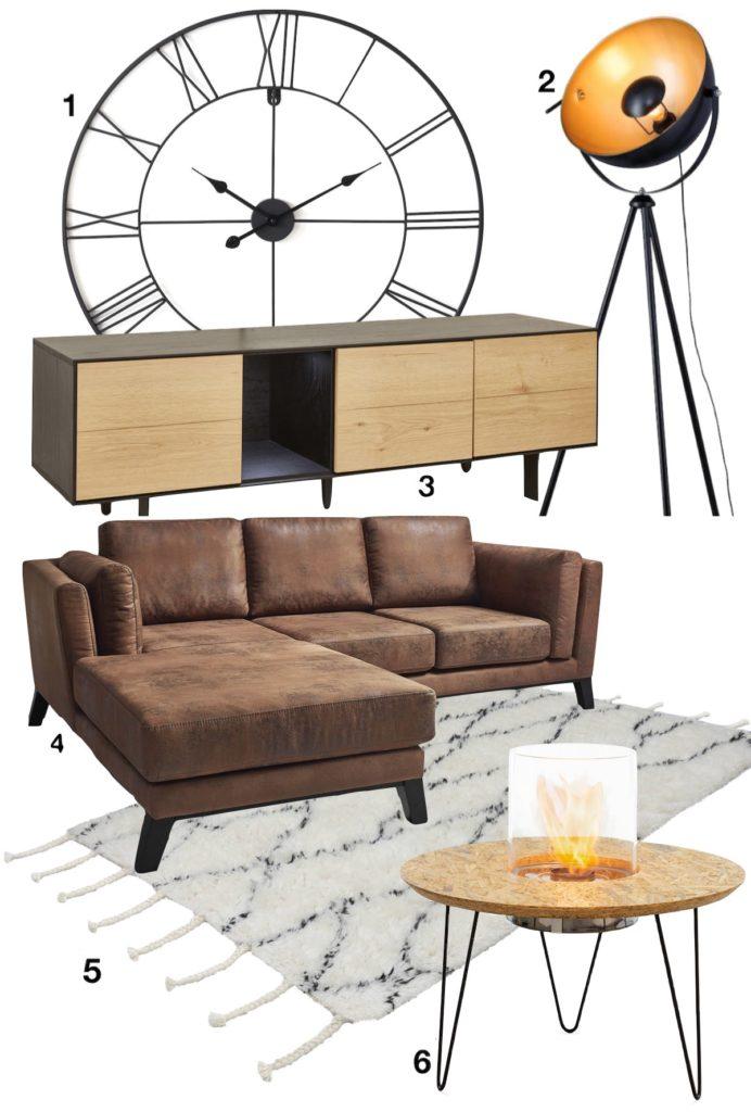 inspiration idée décoration salon séjour appartement style industriel blog canapé cuir lampe métal spot atelier