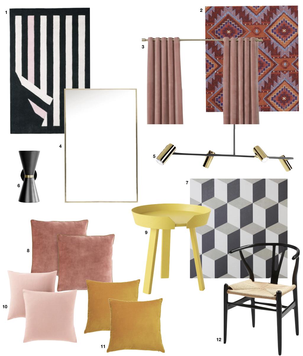 maison anglaise déco éclectique jaune rose design géométrique