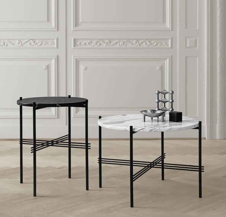 marbre noir pied noir gubi guéridon appartement parisien peinture beige