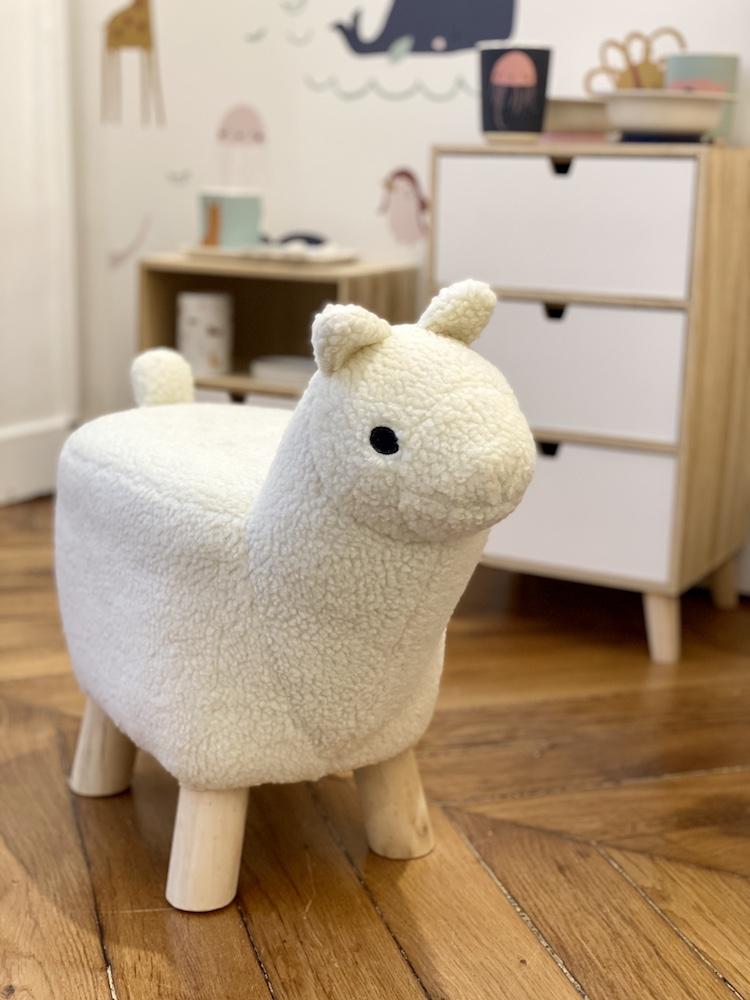 pouf siège enfant chaise mouton bois fausse fourrure