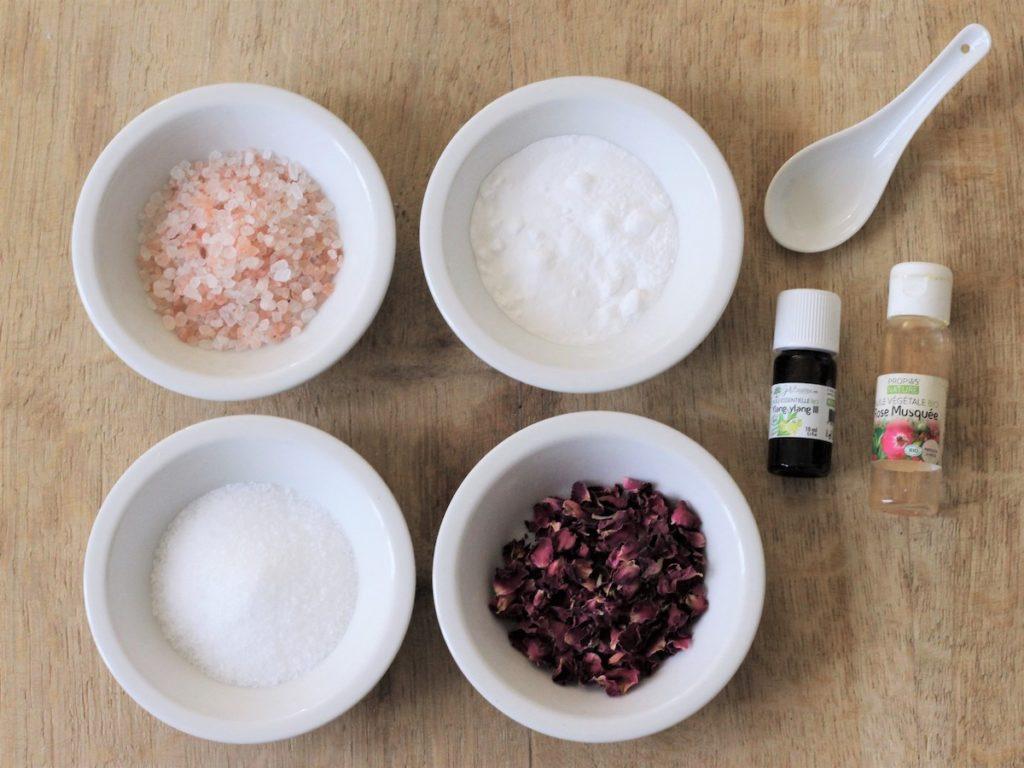 recette sels de bain diy bio rose huile essentielle ingrédient