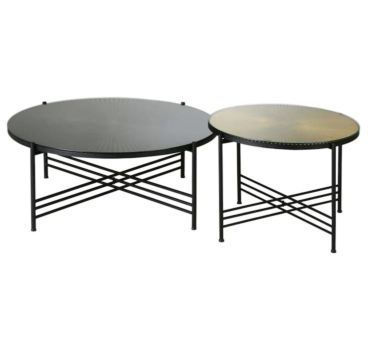 table basse design pas cher métal ronde noir or doré - clem around the corner