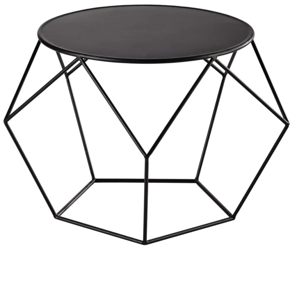 table metal hexagone hexagonal filaire noire