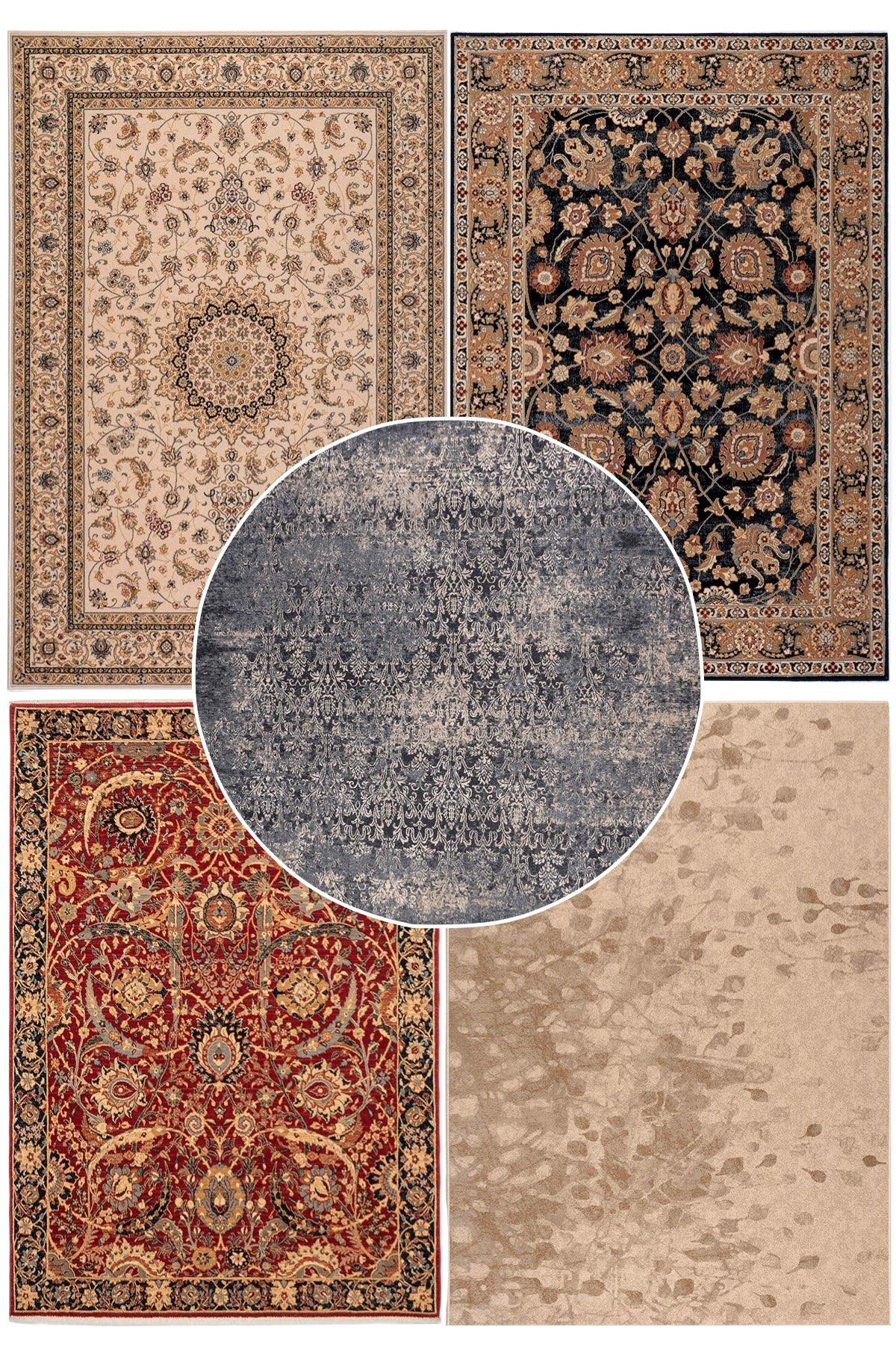 tapis moldave tapis 100% laine rond bleu moderne motif délavé