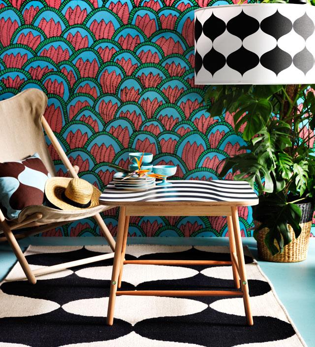 Tillfalle ikea collection tissu africain motif ethnique bleu rouge géométrique - blog déco - clem around the corner